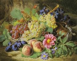 stilleben mit früchten und blumen by josef lauer