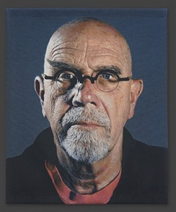 self-portrait (pink t-shirt) by chuck close
