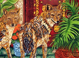 golden jackals with lion gate by kendahl jan jubb