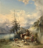 the return of the herd from the high pastures (the dachstein mountains seen from altaussee) by friedrich gauermann