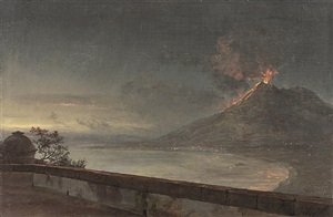mount vesuvius and the gulf of naples, seen from the terrace of the villa quisisana by johan christian clausen dahl