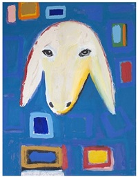 sheep portrait on blue by menashe kadishman
