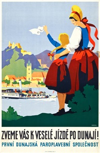 blue danube travel poster by hermann kosel