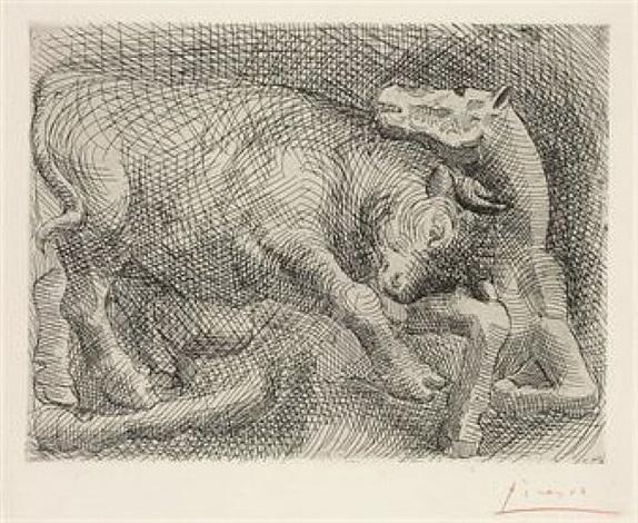 taureau attaquant un cheval by pablo picasso