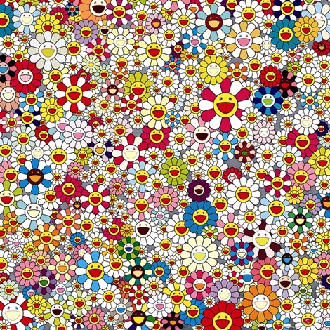 field of smiling flowers by takashi murakami