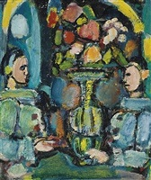 pierrots bleus au bouquet by georges rouault