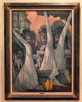 khmer temple scene with monks by andré maire