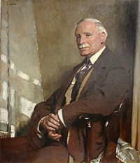 portrait of thomas glass, seated half-length, in a brown three-piece suit by sir william orpen