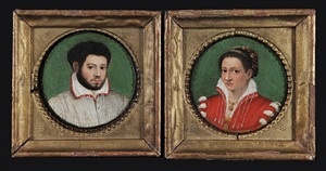 a pair of portraits of a husband and wife by lavinia fontana