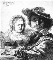 rembrandt and his wife saskia by rembrandt van rijn