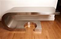 bureau en acier brossé 'diapason' / steel desk called 'diapason' by marzio cecchi