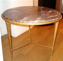 guéridon en fer patiné doré et plateau de marbre / gilt iron and red marble top gueridon by (see also ramsey) ramsay