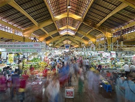 ben thanh market, north entrance, saigon, vietnam by peter steinhauer