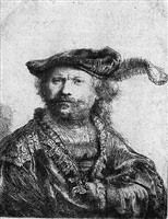 self portrait in a velvet cap with plume by rembrandt van rijn