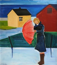 woman in reykjavík with umbrella by louisa matthiasdottir