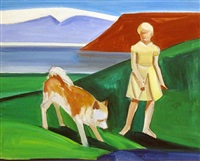 girl with dog by louisa matthiasdottir