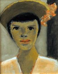 jeune femme au chapeau à fleurs by jean-paul lemieux