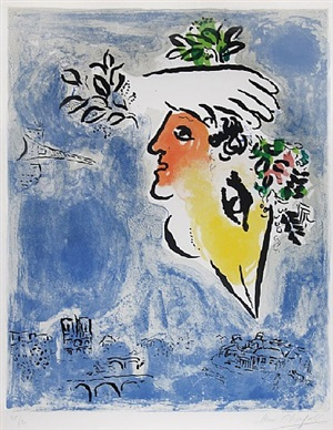 le ciel bleu, paris (the blue sky of paris) by marc chagall