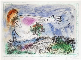 au-dessus de paris (over paris), by marc chagall