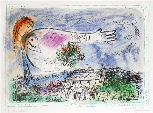 au-dessus de paris (over paris), by marc chagall