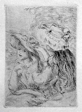 le chapeau epingle (la fille de berthe morisot et sa cousine by pierre-auguste renoir