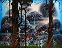 mist in the dark woods by eyvind earle