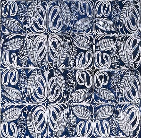 blue floral deign by josef hoffmann