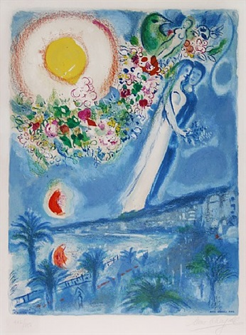 fiancés in the sky at nice, from nice & the côte d'azur by marc chagall
