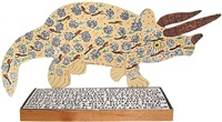 triceratops with glitter by howard finster