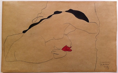 back view of a seated female nude with black hair, bending (danae) by egon schiele