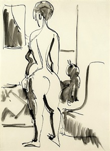 rückenakt mit katze / nude with cat by ernst ludwig kirchner
