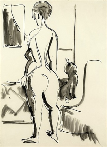 rückenakt mit katze / nude with cat by ernst ludwig kirchner