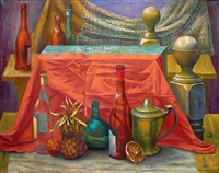 still life with red table cloth by santos zingale