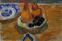 pears and black grapes by ruth grotenrath