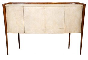 a paolo buffa parchment sideboard on tapered legs w curled bentwood encasement by paolo buffa