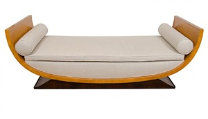 a signed leleu upholstered upholstered sycamore daybed by jules leleu