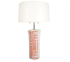 a guido gambone cylindrical ceramic table lamp. by guido gambone