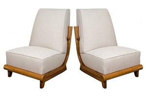 pair of french 1950's slipper chairs w/ wood frame by saporiti