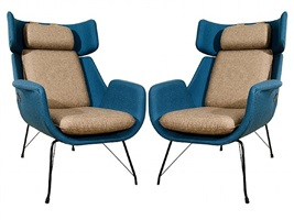 a pair of saporiti blue & beige upholstered steel base arm chairs by saporiti