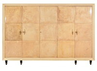 a fine osvaldo borsani parchment and maple wardrobe/chest by osvaldo borsani