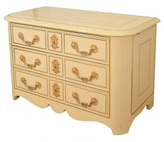 a three drawer cream lacquered commode by bagues