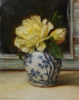 peonies in blue and white (sold) by grace mehan devito