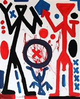 black, red and little blue figures by a.r. penck