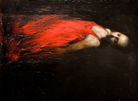 reclined study in red by mark demsteader