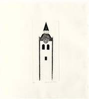the church tower and the clock by david hockney