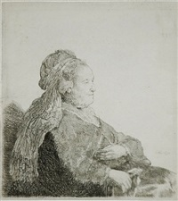 the artist's mother seated, in an oriental headdress: half length by rembrandt van rijn
