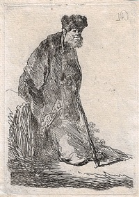 man in cloak & fur cap, leaning against a bank by rembrandt van rijn