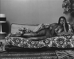madame mama bush in black and white by mickalene thomas