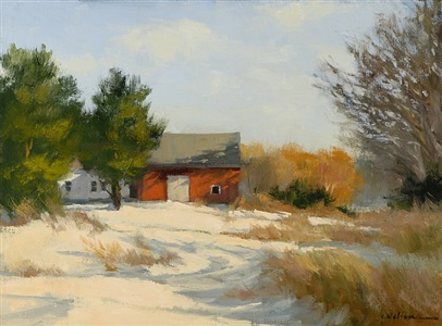 blue hill farm in snow by carolyn walton