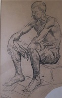 homme accroupi by maximilien luce